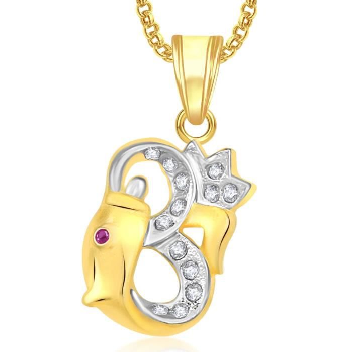 Womens Om Ganesha God Pendant With Chain For ,gold Plated In American Diamond Cz Jewellery Gp0350 S2741