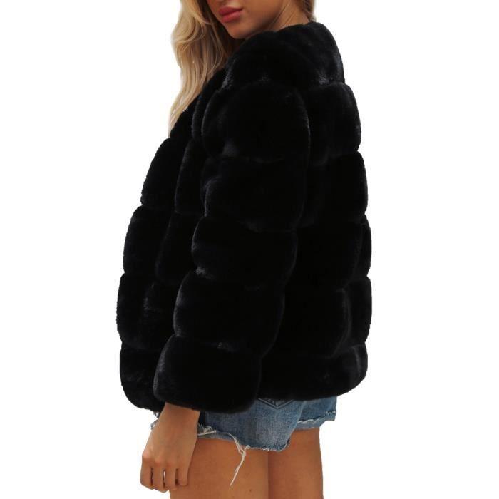 Fourrure Manteau Noir Dégradé En vêtement Chaud D'hiver Parka De Solide Veste Femmes Mesdames Fausse SwAffq