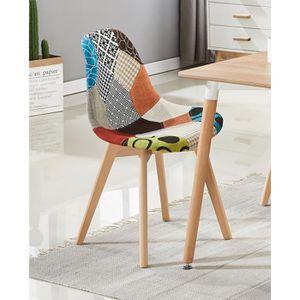 CHAISE Chaise en Tissu à Imprimé Patchwork Sacha - Design