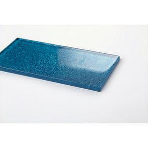 CARRELAGE - PAREMENT Carrelage en verre. Bleu Avec des paillettes multi
