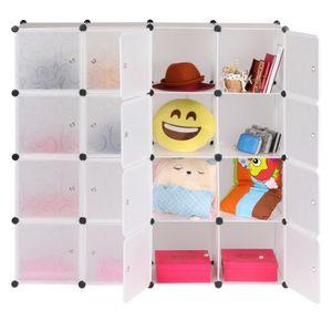 ARMOIRE DE CHAMBRE armoire étagère 16 Cubes organisation multifonctio