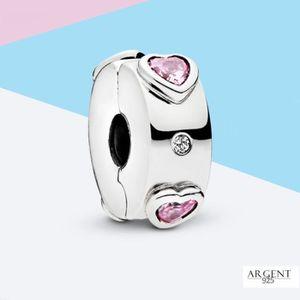 Charm's Cristal Rose en Forme de Coeur Clip Charme Compati