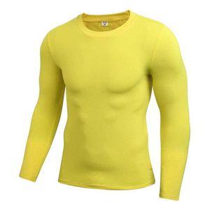 T-Shirt Sport Stretch Homme Manches Longues Mouvement Collants Fitness  Séchage Rapide 4c30e8204a3