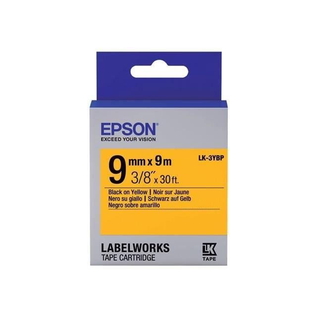 EPSON  bande d'étiquettesLK-3YBP - Couleur pastel Noir/jaune