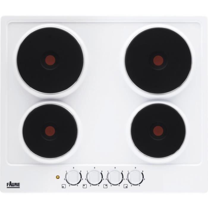 FAURE FEE6940FWA - Table de cuisson électrique - 4 zones - 7000W - L56x x P48 - Blanc