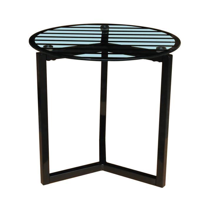 Acier laqué époxy noir et plateau en verre trempé sérigraphié coloris clair - l 40 x L 40 x H 39 cmTABLE BASSE