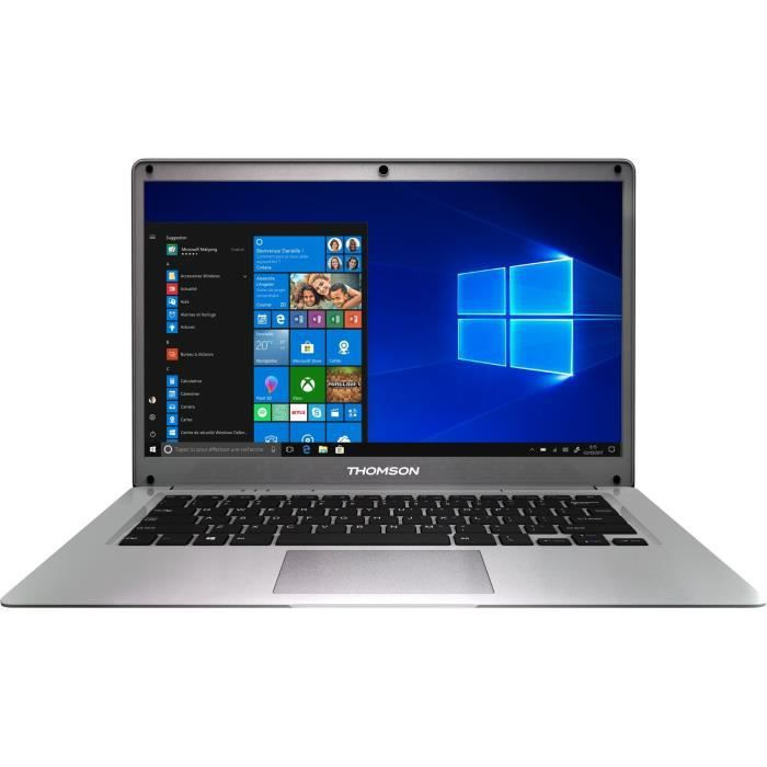 """THOMSON PC Portable - 14"""" HD - Intel Quad Core - RAM 4Go - Double Stockage 64Go+512Go SSD - Win"""