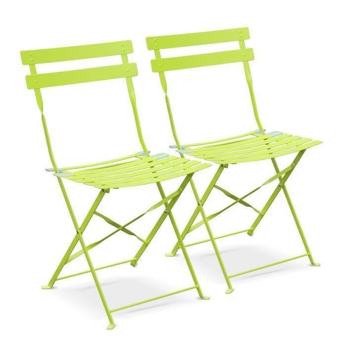 Lot de 2 chaises de jardin pliables - Emilia vertes - Acier ...
