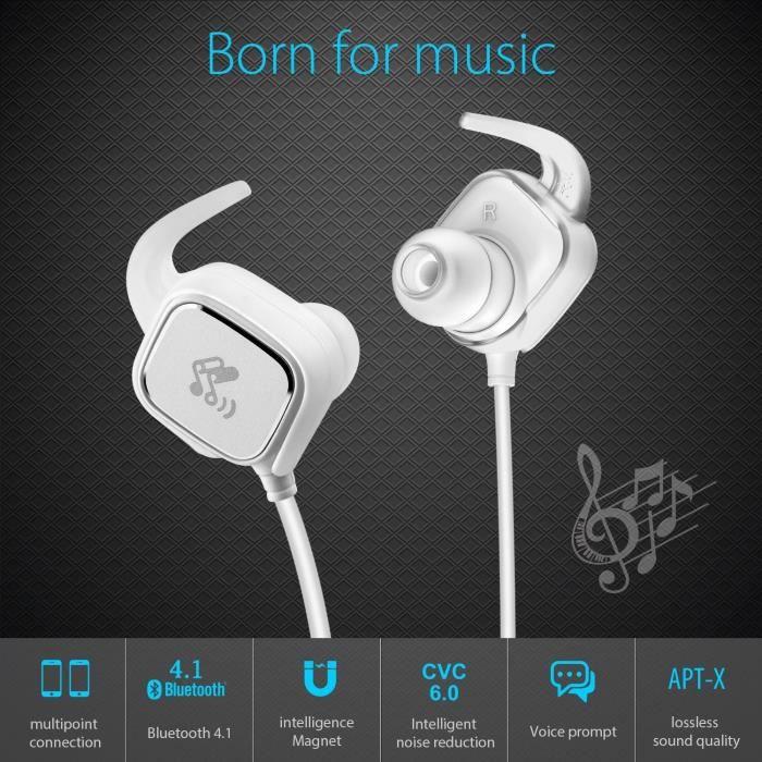 Alpexe® Casque Bluetooth 4.1 Magnétique, Oreillette Sans Fil Pour Le Sport & Jogging, Aptx, Cvc 6.0 Réduction Du Bruit, B