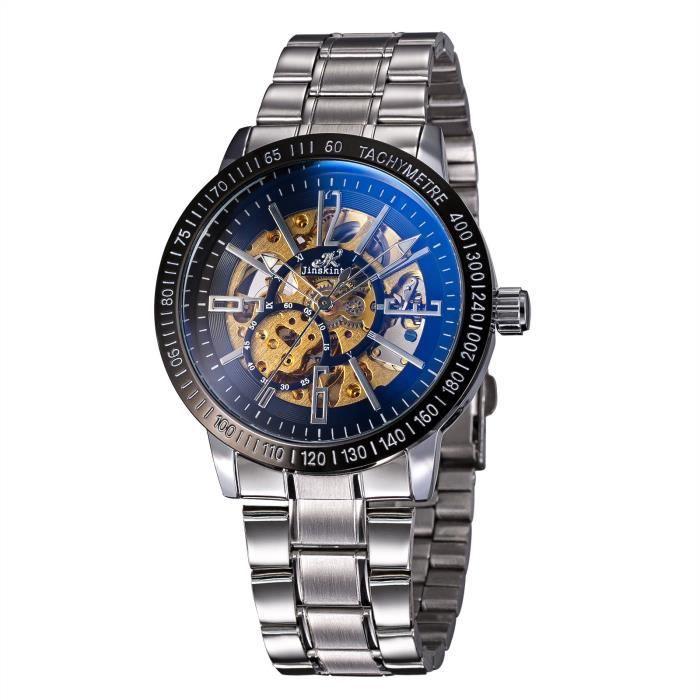 533c415b28a42 Treeweto Homme montres Squelette mécanique automatique Argent Bracelet en acier  inoxydable Montre-bracelet