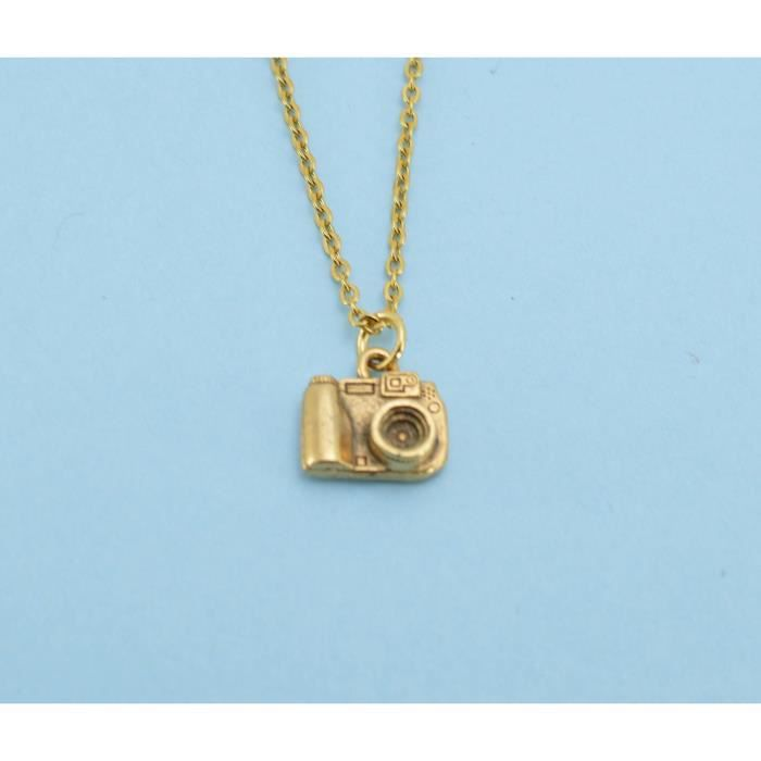 Womens Camera Necklace In Gold Plated Pewter On A 16 Gold Plated Cable Chain With Two Inch Extende GJIHK