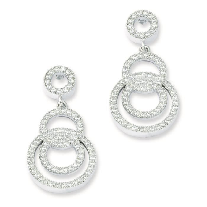 Argent massif et diamants CZ cercle boucle doreilles Fantaisie
