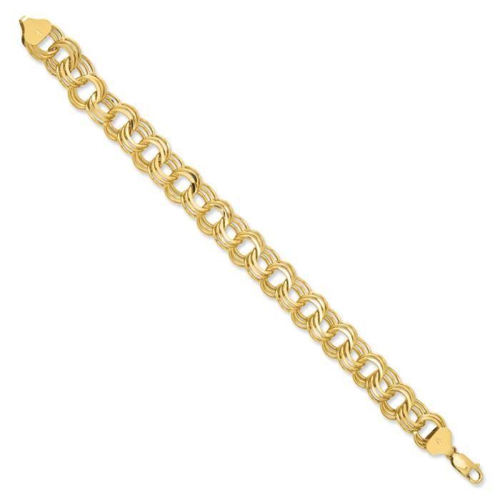 BRACELET - GOURMETTE Triple Link Bracelet Charm 14 carats - 7 mm-Fermoi