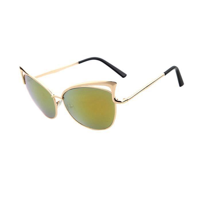 1d1c3928b4455d Lunettes de soleil de mode de femmes de chat doreille de trame en métal de  lunettes