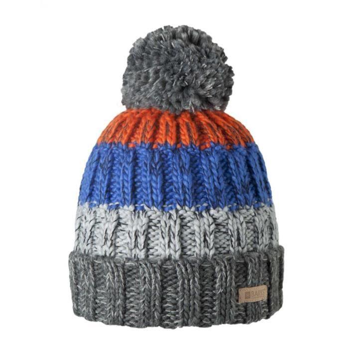 15034a731116 BONNET - CAGOULE BARTS - Bonnet en maille gris et bleu du 10 au 18. TAILLE  UNIQUE - Accessoire ado garçon du 10 au 18 ans.