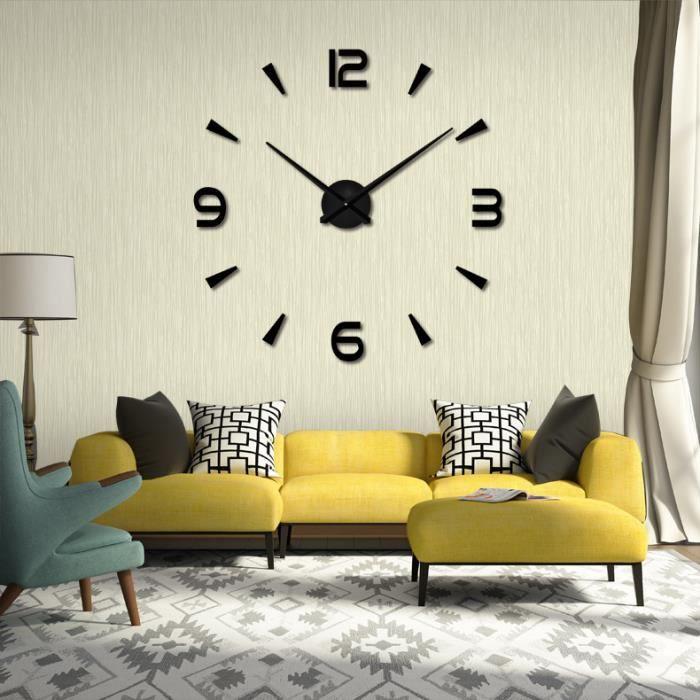 getek 3d grande horloge murale surface miroir d coration autocollant bureau domicile. Black Bedroom Furniture Sets. Home Design Ideas