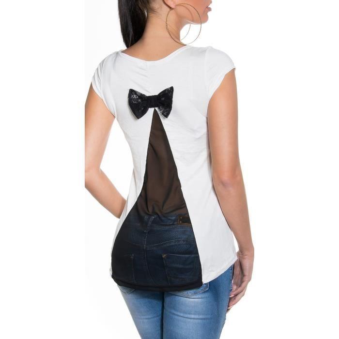 Tshirt femme dos en voile et petit noeud blanc l blanc achat vente t shirt 3700958105136 - Photo noir et blanc femme de dos ...