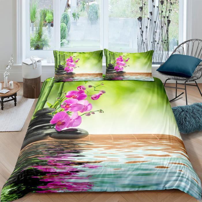 Parure De Lit Zen Bambous Galets Fleurs Et Leurs Reflets 3d Effet 160 210cm 3 Pieces