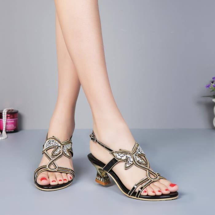 Nouveaux violet papillon bohême strass cloutés sangle cheville sandales épais mariée sandales de mariage 3DoYYNDQB