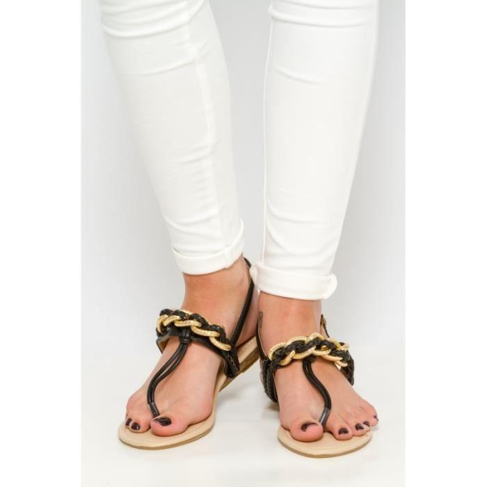 Sandales noire avec chaînes re5oj12