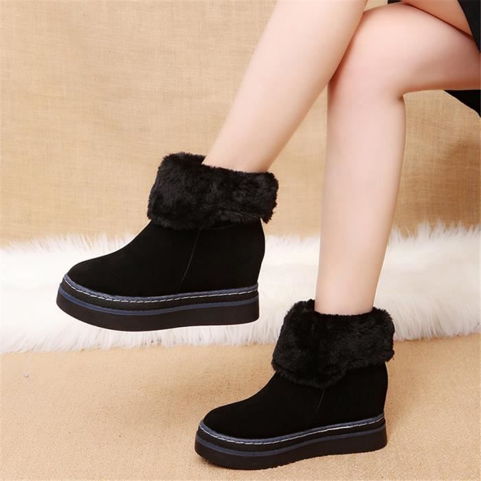 Femmes Bottine Nouvelle Mode Chaussures de neige RéSistantes à L'Usure Femme Bottines Plus Taille,noir,35