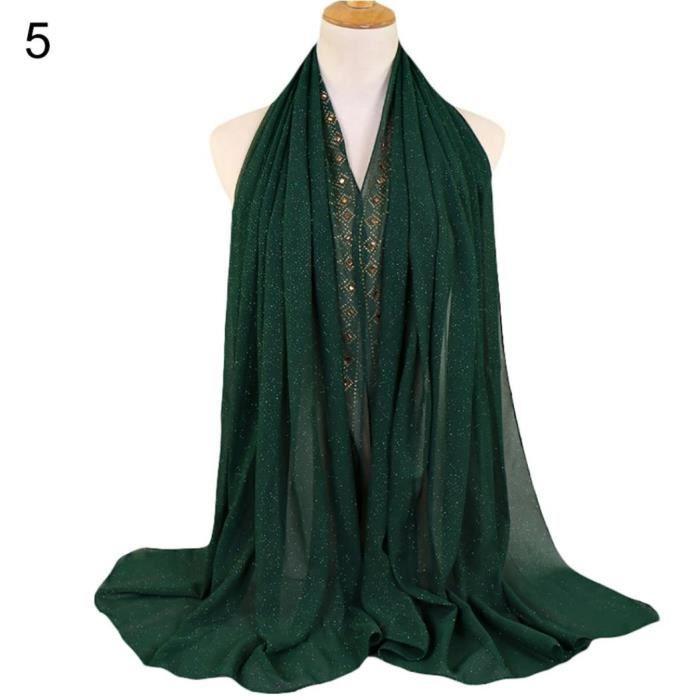 Style ethnique rétro strass décor islamique femmes musulmanes foulard  foulard en hijab vert foncé ced40912b80