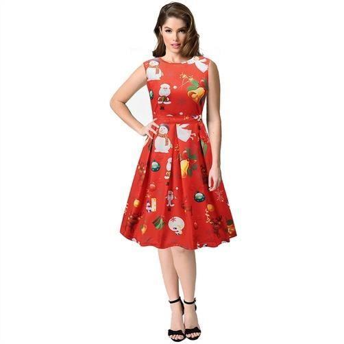 Femmes A-ligne Robe sans manches, rouge