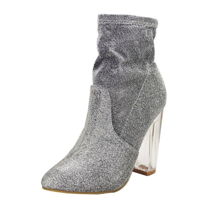 Bamboo Nightfall-01s Womens Foiled Metallic Chunky Clear Heeled Ankle Boots UJZ71 Taille-40