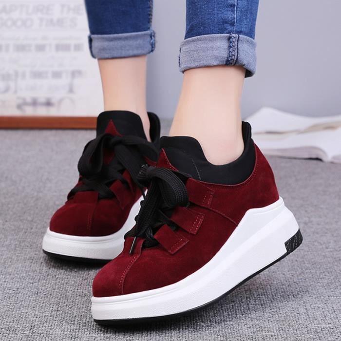 chaussures multisport Femme Automne - hiver de femme Souliers Slip-on à haut talons Mocassins vin rouge taille5.5