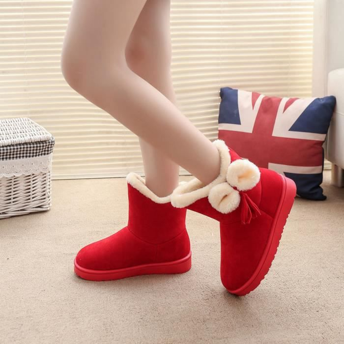 Bottes Chaud Hiver Beguinstore Chaussures Appartements Femme Rouge love3496 Automne Neige Bowknot 5fFBqY