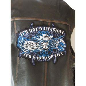 ACCESSOIRE CASQUE Grand patch dorsal moto en flamme bleues