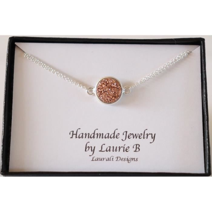 Womens Copper Druzy Charm Necklace Sterling Double Sided FW9RB