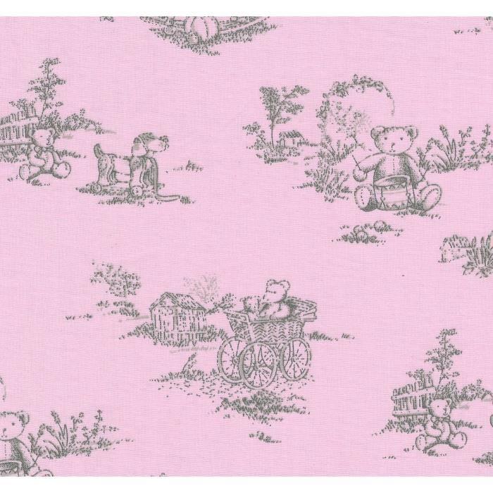 drap housse pour matelas 70x140 Drap housse pour matelas de 70x140 imprimé ourson fond rose  drap housse pour matelas 70x140