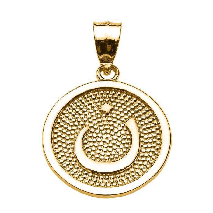 Collier Pendentif 10 ct Or JauneArabiquee Lettre nuun initiale Charm(Vient avec une chaîne de 45 cm) Allah islamique