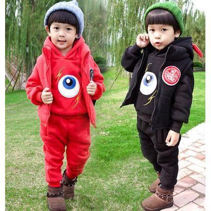 De plus épais velours trois-pièces de costume enfants chandail casual vêtements pour enfants de bande dessinée, rouge de 110 cm
