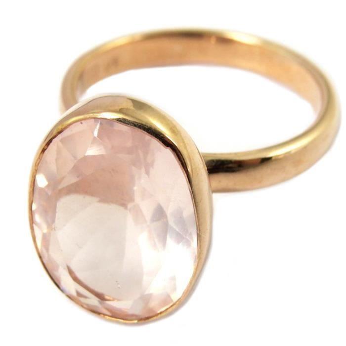 Bague artisanale argent Sissi quartz rose doré rosé (gold pink) - 17x12 mm [P4083]