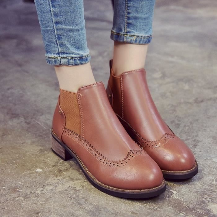 Femmes & # 39; Bottes Brown Bottes Noir Automne Hiver Femme Chaussures Femme véritable Slip en cuir sur la cheville Bottes style