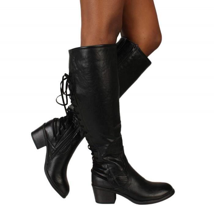 Bottes éQuitation Cuir Ankle Boots Femme Talon Compensé Bottines à Lacets  Chaussure Femmes Talon Sexy Hiver Zippé 05122251de74