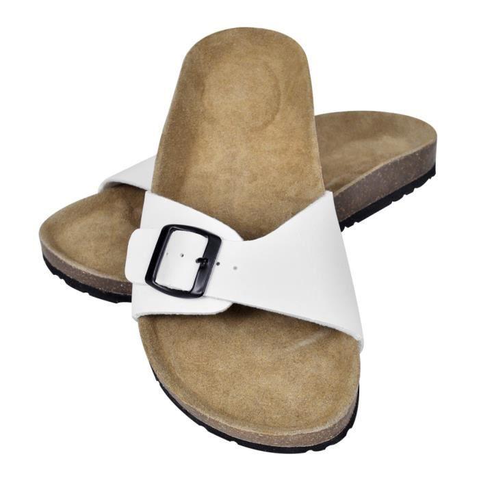 Sandales unisexes blanches en liège bio à fermeture à boucle taille 39 5OdX8OZkyu