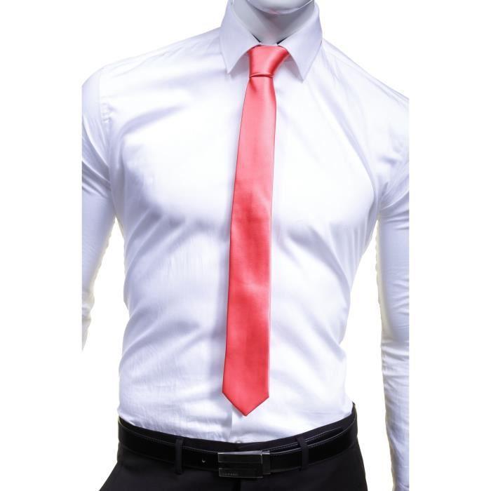 fb4c015278f58 Cravate Virtuose Uni Satin Slim Saumon - Achat / Vente cravate ...