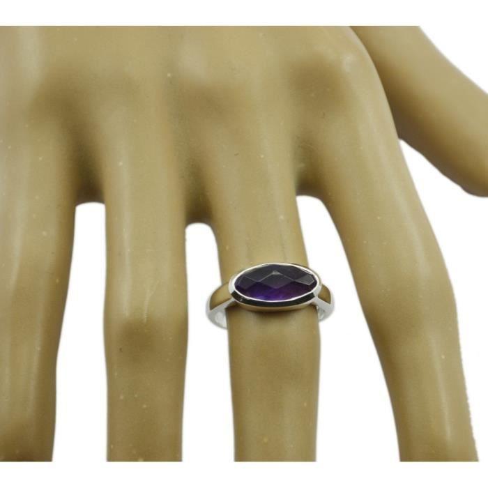 anneau daméthyste - anneau violet - bague en argent - anneau dargent violet