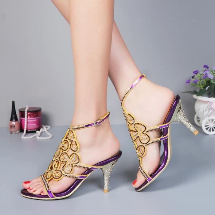 Sandales Violet Nouvelles fleurs de bohême strass cloutés sangle cheville mince talonchaussures de mariage mariée