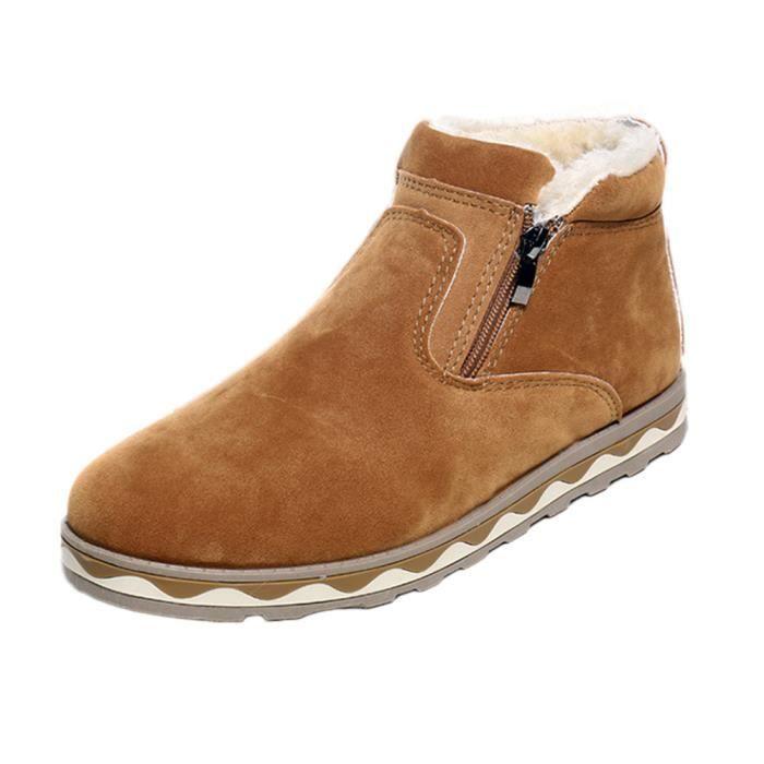 Hommes Hiver Chaud Bottes Casual Imperméable Anti-Slip Chaussures Bottes de Neige En Peluche Noir XKO976 899iEx