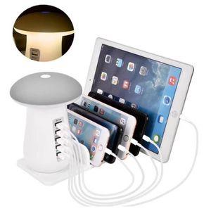 LAMPE A POSER LED Lampe De Bureau à 5 Ports USB Chargeur Rapide