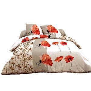 parure lit coquelicot achat vente pas cher. Black Bedroom Furniture Sets. Home Design Ideas