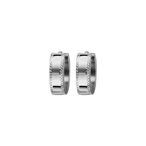 Créoles acier 4mm articulées diamantées sur les cô
