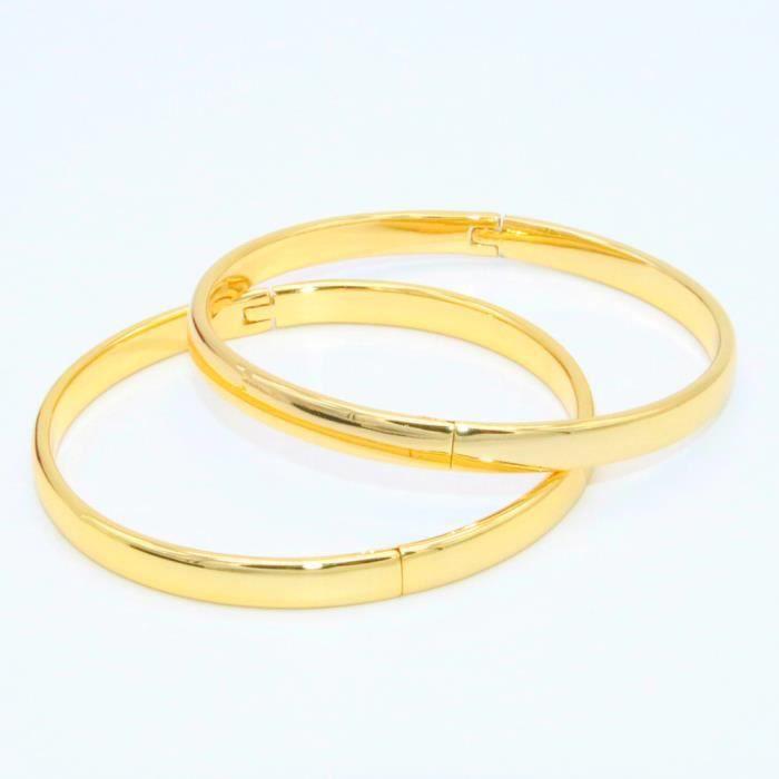 61c1d60f96157 Bracelet de 2 pièces pour femmes en or jaune 18 carats Bracelet de 6 mm en  or massif et lisse de 6 cm de diamètre