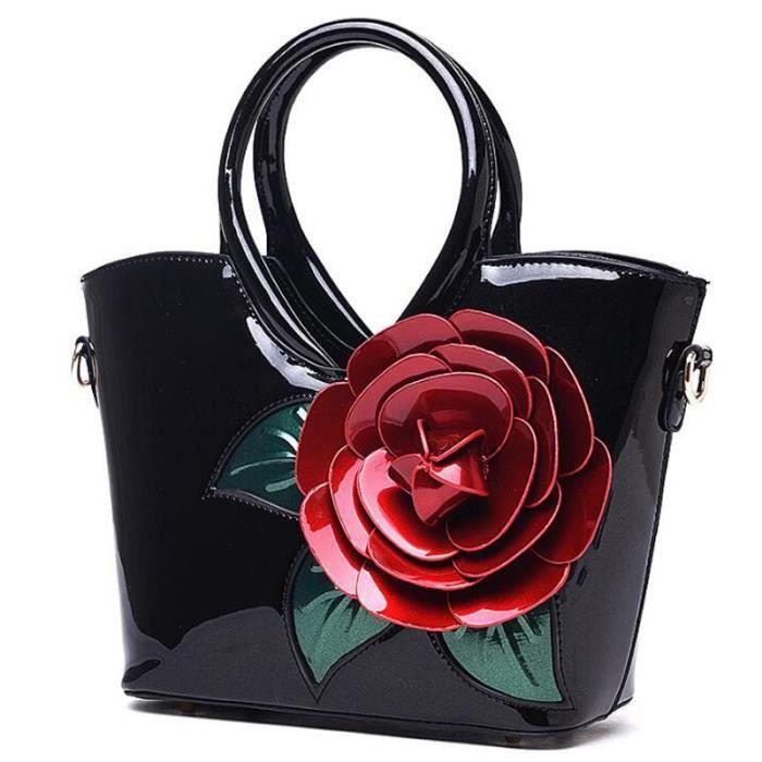 sac à main Messenger Bag pour les femmes célèbres Marque Designer Femmes Sac Vintage Flower Sacs de luxe en cuir verni pour l-23
