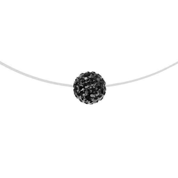 Collier Argent 925 Fil Nylon Pendentif Boule Strass Noir 7 Mm 42 Cm