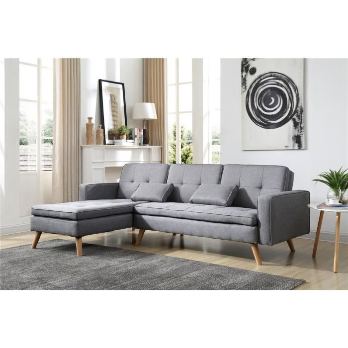 Nora Canape D Angle Reversible Convertible Gris Clair